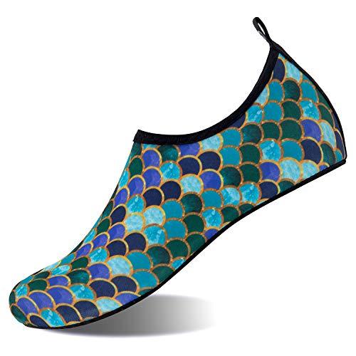 HMIYA Badeschuhe Strandschuhe Wasserschuhe Aquaschuhe Schwimmschuhe Surfschuhe Barfuß Schuhe für Damen Herren(Fischschuppen,Gr.35-36 EU/Herstellergröße: 36-37)