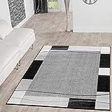 T&T Design Alfombra De Salón Moderna Económica Diseño Ribete Gris Negro...