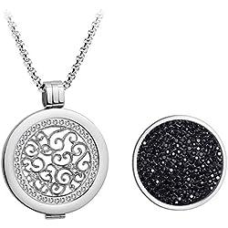 Kette Damen, Meilanty Coins 33mm Anhänger Halskette Silber 80cm Lange Kette Geburtstagsgeschenk/Familie /Freunde/ Liebhaber