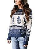 Weihnachtspullover Damen Pullover Gestrickte Christmas Reindeer Rundhalsausschnitt Drucken Lange Sleeve Weihnachten Sweatshirt Jumper (XL, Blau) (Textilien)