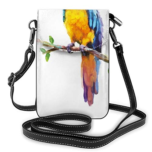 Women Small Cell Phone Purse Crossbody,Australian Wild Fauna Inspired Artwork Of Parrot Cockatoo Jungle Bird In Lively Colors -
