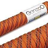 Paracord 550 Seil, 31 Meter, für Armband, Knüpfen von Hundeleine oder Hunde-Halsband zum selber machen / Seil mit 4mm Stärke / Mehrzweck-Seil / Survival-Seil / Parachute Cord belastbar bis 250kg (550lbs), Farbe: orange, rot, schwarz, Marke Ganzoo