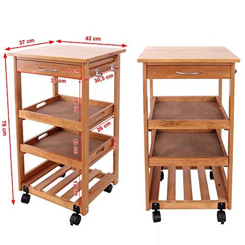 Songmics carrello da cucina 2 gancio legno portavivande mobiletto scaffale mensola trolley - Mobiletto cucina amazon ...