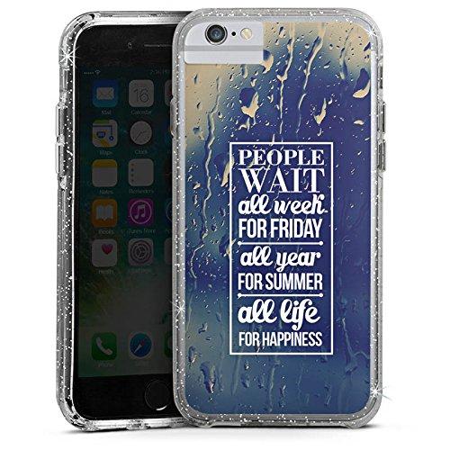 Apple iPhone 6s Plus Bumper Hülle Bumper Case Glitzer Hülle Happiness Sayings Phrases Bumper Case Glitzer silber