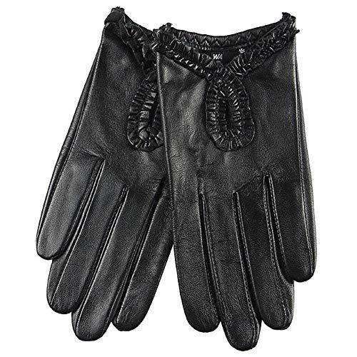Weiche Lederhandschuhe für Frauen Full-Hand Driving Handschuhe Touchscreen Frühling und Sommer dünne Spitze Schaffell Handschuhe Driving Handschuhe (Color : Black)