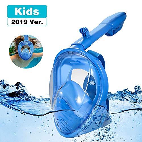 Jiqu Vollgesichts schnorchelmaske, Tauchmaske, mit schöne Box für Kinder, 180° Blickfeld Vollgesichtsmaske mit Action-Kamera-Halterung und Warnung Top, Anti-Fog und Anti-Leck