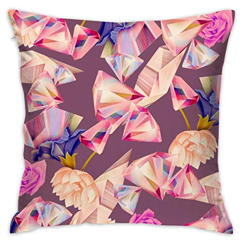 FPDecor Funda de Almohada, Square Cushion Covers Colorful Diamond Pattern with Rose Flower Throw Pillow...