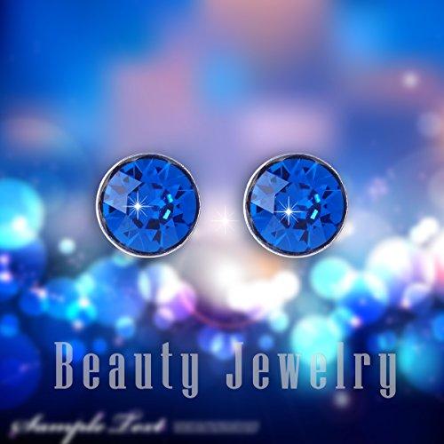 Mabox Acier Inoxydable Femme Boucles d'oreilles Incrustation d'Oxyde Zircon Bleu