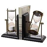 Bookends Hourglass Design Diviseurs de livre en bois en métal noir résistant pour...