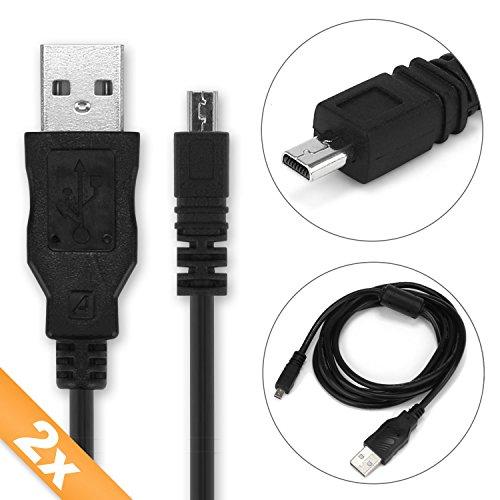 2X CELLONIC® USB Kabel 1.5m kompatibel mit Panasonic Lumix DMC-FZ1000 -FZ300 -FZ200 -FZ72 DMC-LX100 DMC-TZ70 -TZ71 -TZ57 DMC-SZ10 DMC-GF7 DMC-GX8 DMC-FT5 DMC-GH4 8 Pin USB Datenkabel Ladekabel