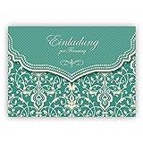 Hübsche Einladungskarte mit Vintage Damast Muster in edlem Hellblau Türkis für junge Damen: Einladung zur Firmung