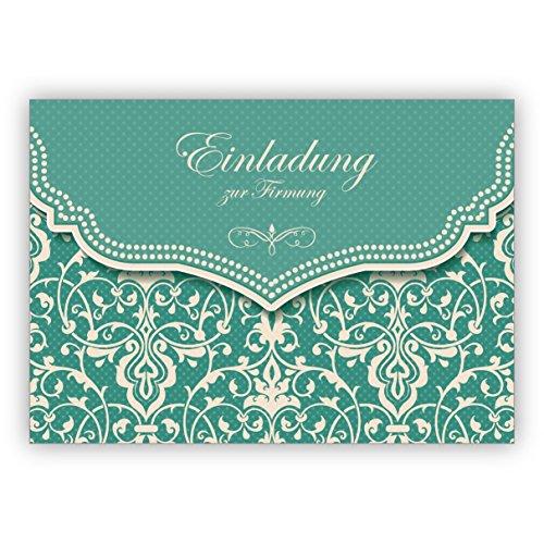 Im 5er Set: Hübsche Einladungskarte mit Vintage Damast Muster in edlem Hellblau Türkis für junge Damen: Einladung zur Firmung
