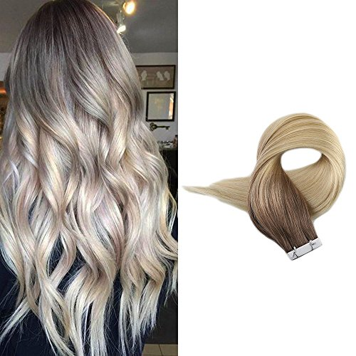 Full Shine 18 Inch 20 Stuck 50g Per Package Haarfarbe #7B Fading to Haarfarbe 613 Dip Dye Tape on Remy Straight Human Hair Extensions Tape in Haarverlangerung Balayage Hair Extensions -