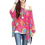 Pinkyee, Chiffon-Bluse mit Fledermausärmeln für Damen, sexy, Bohemian, Hippie-Stil, lockeres, schulterfreies T-Shirt Gr. Einheitsgröße, Pattern Color-17