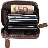 MASTER-LEVEL ThreeOne: Geldbörse + Kreditkartenetui + Brieftasche / Extra-Schlüsselfach / echtes Leder / RFID+NFC-Protection (vintage-braun)