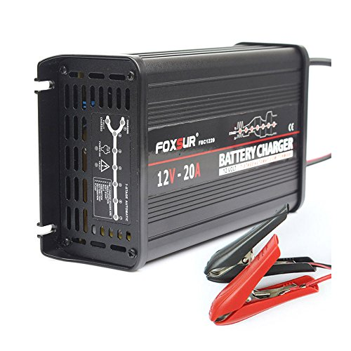 FOXSUR Caricabatteria intelligente a batteria a 7 fasi 12V 20A, caricabatterie a batteria AGM umido al piombo, caricabatteria per auto, caricabatterie a impulsi in alluminio (12V 20A)