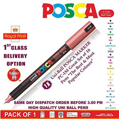 1 x PC-1MR Uni Posca Marker Extra Fine Point (0.7MM) 16 DIFF COL- qualsiasi superficie PC1MR - Rosa