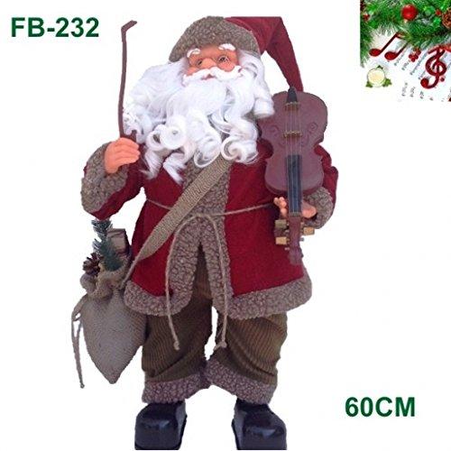Timar babbo natale con violino pupazzo musicale con battito fb229 mano rosso