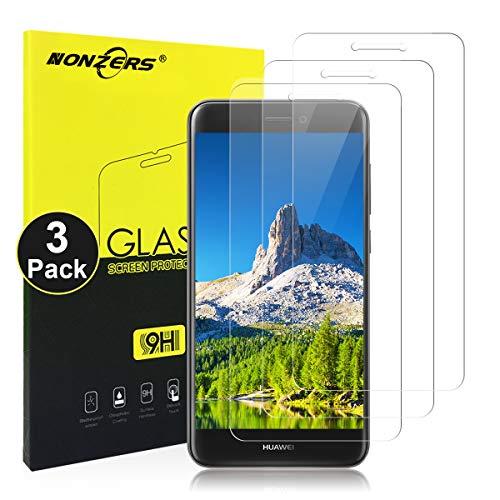NONZERS 3-Pack Cristal Templado para Huawei P8 Lite Vidrio Templado [2.5D Redondo Borde] [0.3mm Ultrafino] [Anti-rasguños] Fácil Instalación y Sin Burbuja Protector Pantalla para Huawei P8 Lite