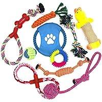 WeFine Juguetes para Perros, Cuerda para Masticar, Durable Juguete para Morder para Perro, Herramientas de Entrenamiento, 100% Algodón - 10 Piezas