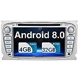 PUMPKIN Android 8.0 Autoradio Radio für Ford Focus Mondeo mit Navi Unterstützt Bluetooth DAB + USB CD DVD Android Auto WLAN 4G MicroSD 2 DIN 7 Zoll Bildschirm Silber