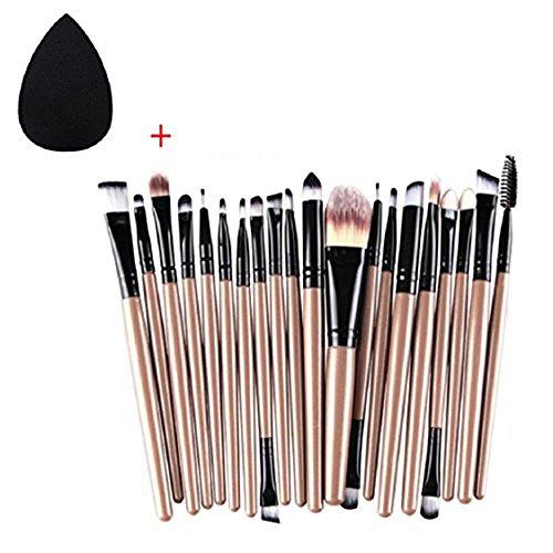 Lumanuby 20pcs Pinceaux de maquillage pour fard à paupières Eyeliner Lip Fond de teint poudre Correcteur Illuminateur d'ombres à paupières Lot de pinceaux de maquillage Beauté outils (Noir Gouttes d'eau + Tube de 20lingots d'or Noir)
