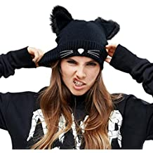 5ca2629d2c9d0 NW 1776 Sombrero de Mujer Gato Oreja Ganchillo Trenzado de Punto Gorras  Snowboard Caliente Invierno