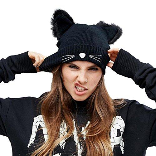 NW 1776 Sombrero de Mujer Gato Oreja Ganchillo Trenzado de Punto Gorras Snowboard Caliente Invierno (Negro)