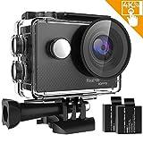 IXROAD Caméra Sport 4K WiFi Action Cam Caméscope Appareil Photo Étanche avec Télécommande 2 Batteries Kit d'accessoires pour Casque Moto Vélo VTT etc (Noir)