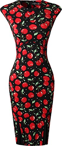 Jeansian Femme Cocktail Fashion Robes Women Dresses Lady Slim Wear to Work Sheath Pencil Dress WKD295 Black&Red