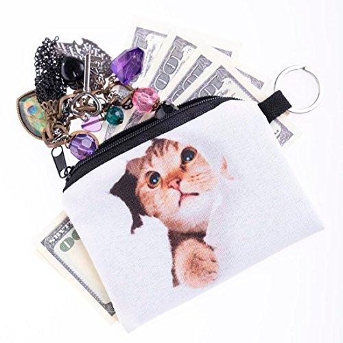 Saingace Mädchendruckmünzen ändern Geldbeutel Kupplungsreißverschluß nullmappe Handtaschen Schultertasche Freizeitrucksack Tasche Rucksäcke Weiß