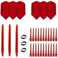 Flights SLIM Neon-Gr/ün Medium 47 mm TA1613 inkl Checkout-Tabelle von British Darts Kombi Set Stoff Pentathlon