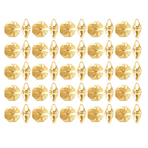 ZCHXD 50Pcs Crystal Glass Beads Amber Octagonal Drops Chandelier Pendants Decoration for DIY Light Accessories 147.6mm - Amber Glass Drop