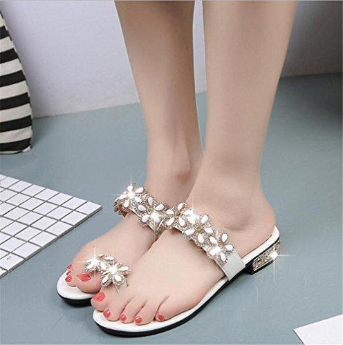 LDMB Dame / Frauen Sommer Böhmen süße Blumen Perlen Flip-Flop Schuhe flache Sandalen Strand Schuhe / Hausschuhe White