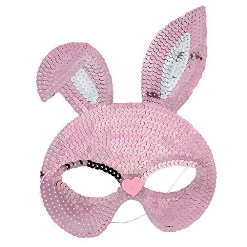 Viesky Maskenbärenmaske, Pailletten, Hasenmasken, süßes Häschenmotiv, Halloween, Maskenball, Party, Cosplay, Kostüm-Requisiten, Plastik, Rose, M