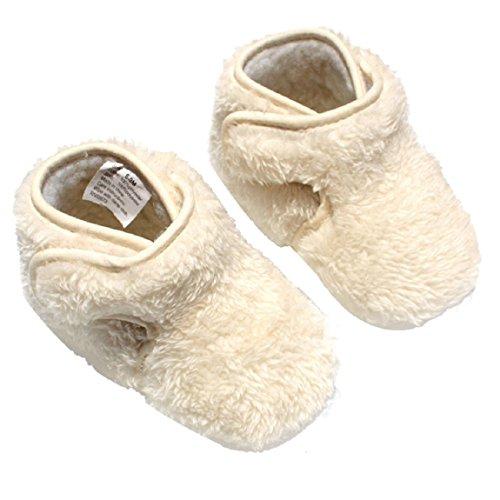 Malloom® Baby Mädchen Weiche Sohle Krippe Warmen Button Wohnungen Baumwoll Boot Schuhe (12CM, beige) (Leder Keile Ballett)
