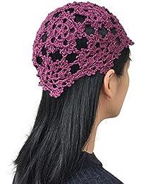 ad6986b1 MARZE Womens Hand Knitted Crochet Skull Cap Hollow Out Knit Hats Girls  Flower Knitting Beanie Hat