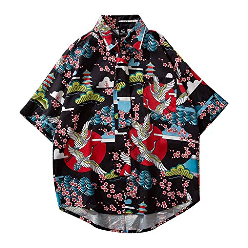 Xmiral Camicia Stampa Modello di Gru Hawaiian Party Holiday Beach Estate Uomo Stampa Camicie Casual Manica Corta Beach Top Camicetta Casual Allentata Mens (L,2- Nero)