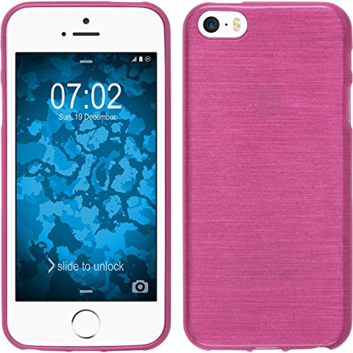 PhoneNatic Case für Apple iPhone SE Hülle Silikon blau brushed Cover iPhone SE Tasche + 2 Schutzfolien Pink