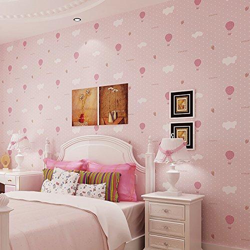 romantische Ballon Jungen Kinderzimmer Tapete Klebstoff verklebt Tuch niedlich süß Teen Mädchen das Zimmer , lovely powder (Damast-ballons)