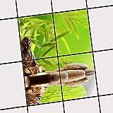 creatisto Fliesenspiegel Dekorationssticker | Fliesen-Sticker Aufkleber Folie Selbstklebend Bad renovieren Küche Bad Ideen | 15x20 cm Design Motiv Buddha Zen - 4 Stück