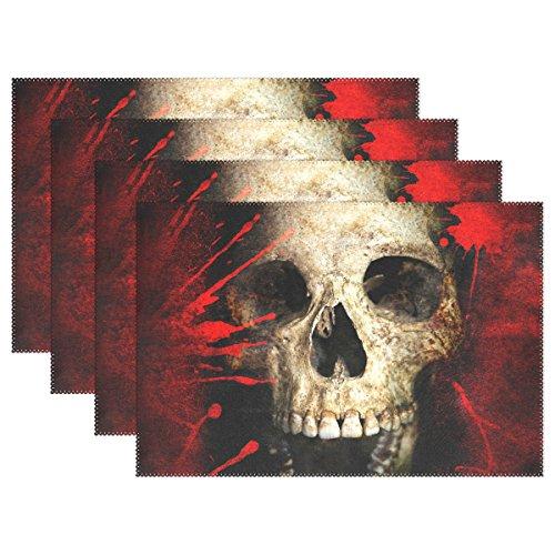 tzsets, Sugar Skull hitzebeständig waschbar Tischset für Küche Esstisch Dekoration, Polyester, mehrfarbig, 30*46 cm ()