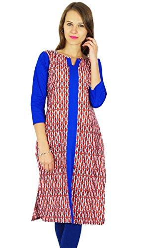 designer Phagun Bollywood kurta femmes robe casual kurti Blanc Cassé Et Bleu