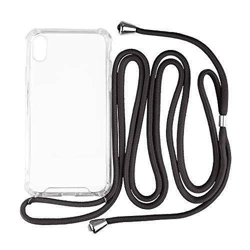 Hello Cable - Handykette mit Case - Farbe Schwarz - Kompatibel mit iPhone XS MAX - Lanyard transparentes Softcase/-hülle mit schwarzer Kordel zum Umhängen - Handy Halsband/Necklace Case