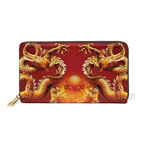 Werert Geldbörse Portemonnaie Luck Chinese Dragons Wallet Large Capacity Luxury Genuine Leather Wallet Purse with Zipper Pocket -