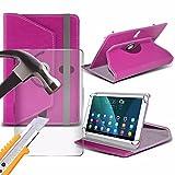 Spyrox - Amazon Fire (7 inch) Tablet- Hülle PREMIUM PU 360 Rotierende Leder-Brieftasche Folio Faux 4 Springs Stand mit gehärtetes Glas LCD-Display Schutzfolie -Pink