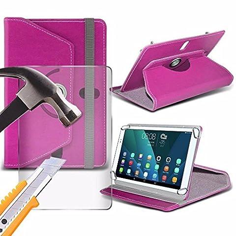 Spyrox - Polaroid A1000x (10.1 inch) Housse pour tablette PREMIUM PU 360 Portefeuille en cuir tournant Folio Faux 4 Pieds avec support en verre trempé Protecteur d'écran LCD