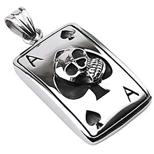 nger Totenkopf Ass Skull Poker Casino Ace Spades Edelstahl silber schwarz (Pendant Anhänger Charm Beads Chirurgenstahl Damen Herren Schmuck) (Casino Passt)