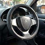 #7: Oshotto 100% Genuine Leather Car Steering Cover (Dark Black,Small)