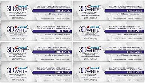 Crest 3D White Brillanz Whitening Zahnpasta, lebendige Pfefferminze Reisegröße, TSA genehmigt, 0,85 Unze (8 Stück) - Pfefferminze Whitening Zahnpasta